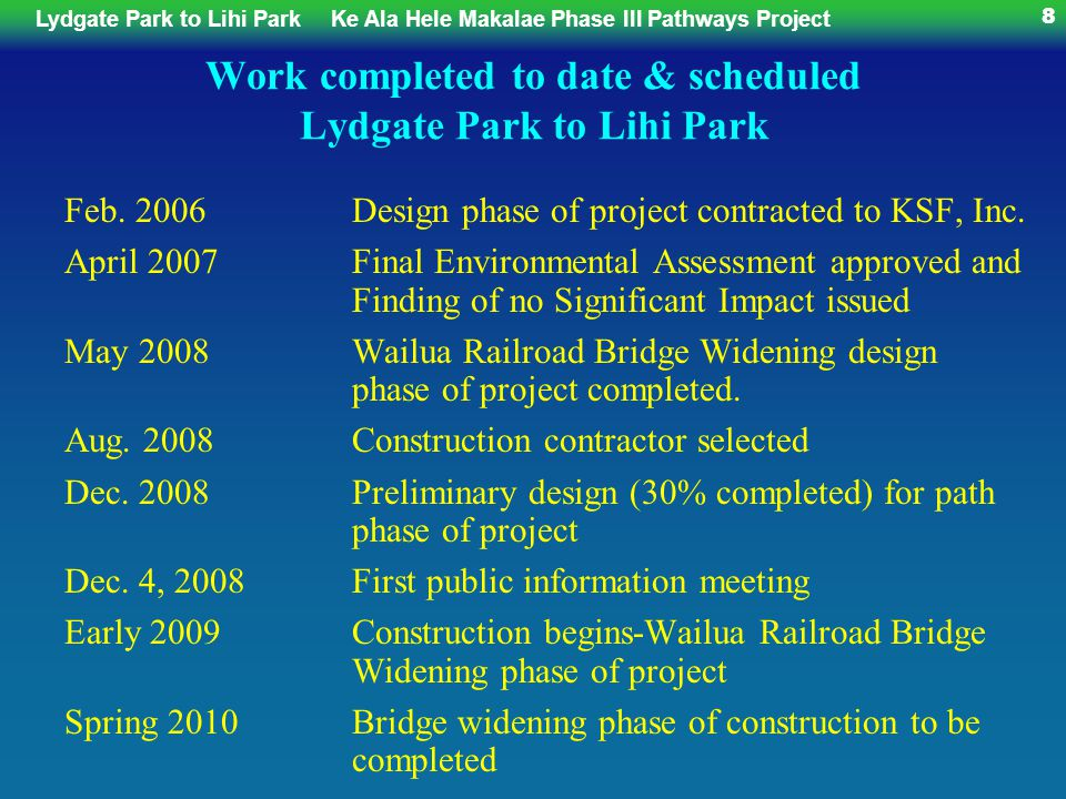 Lydgate Park to Lihi ParkKe Ala Hele Makalae Phase III Pathways Project 119