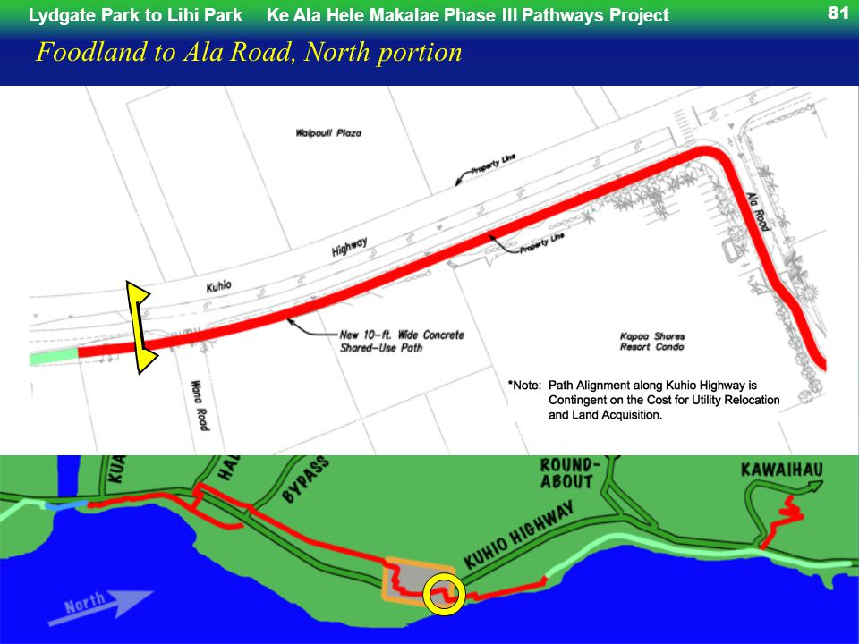 Lydgate Park to Lihi ParkKe Ala Hele Makalae Phase III Pathways Project 81 Foodland to Ala Road, North portion
