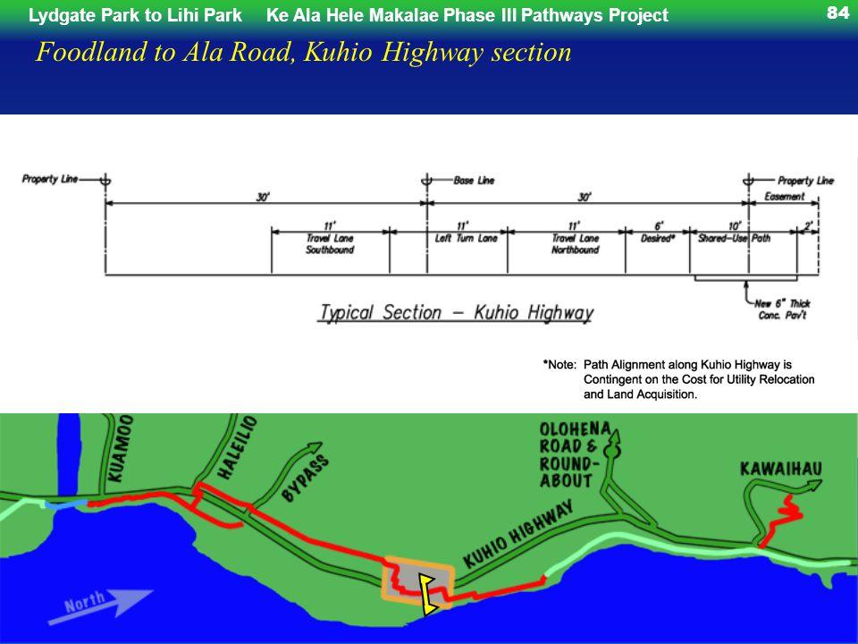 Lydgate Park to Lihi ParkKe Ala Hele Makalae Phase III Pathways Project 84 Foodland to Ala Road, Kuhio Highway section