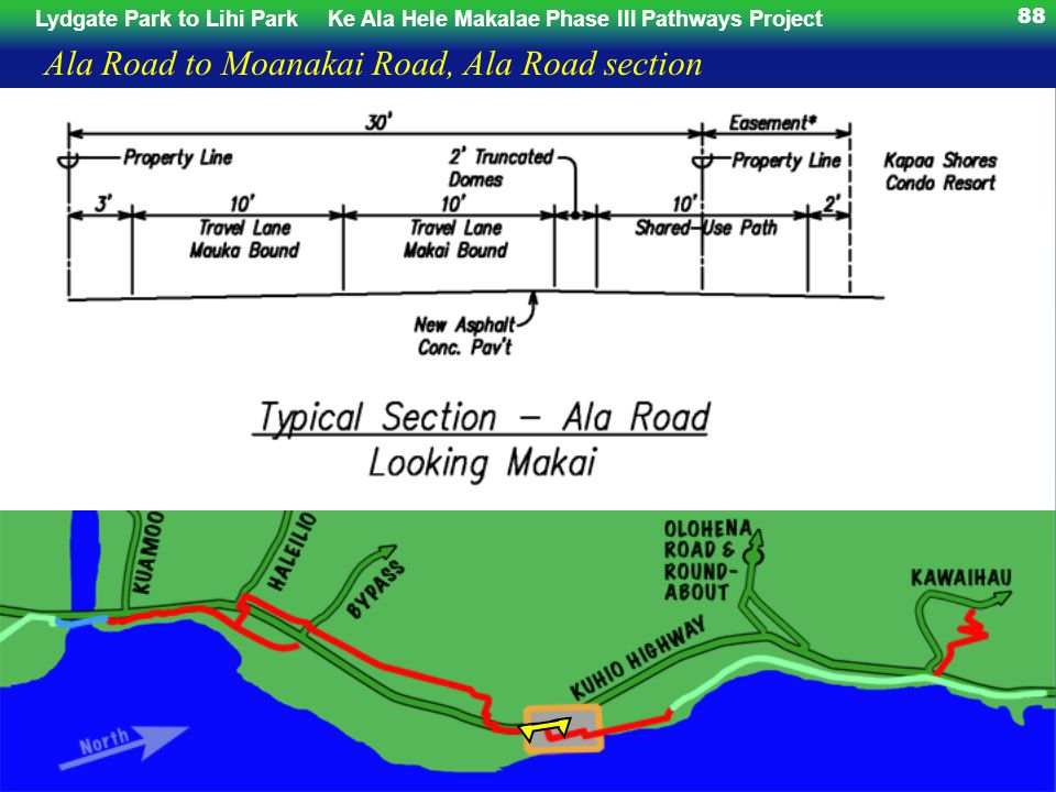 Lydgate Park to Lihi ParkKe Ala Hele Makalae Phase III Pathways Project 88 Ala Road to Moanakai Road, Ala Road section