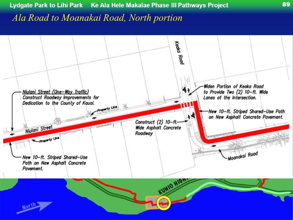 Lydgate Park to Lihi ParkKe Ala Hele Makalae Phase III Pathways Project 89 Ala Road to Moanakai Road, North portion
