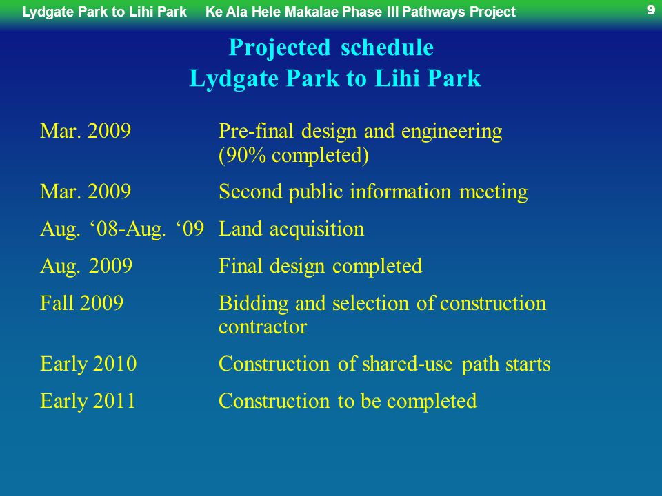 Lydgate Park to Lihi ParkKe Ala Hele Makalae Phase III Pathways Project 70 Midler Area, central portion, canal section