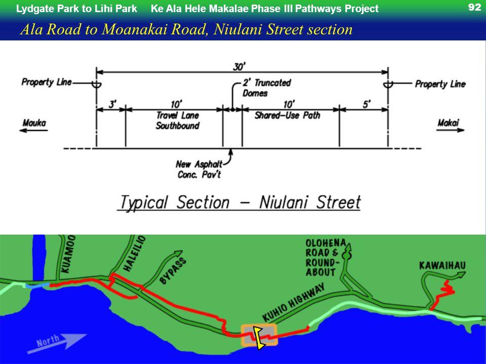 Lydgate Park to Lihi ParkKe Ala Hele Makalae Phase III Pathways Project 92 Ala Road to Moanakai Road, Niulani Street section