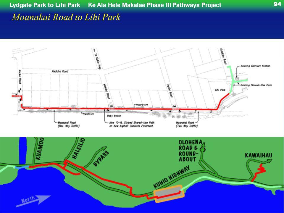 Lydgate Park to Lihi ParkKe Ala Hele Makalae Phase III Pathways Project 94 Moanakai Road to Lihi Park