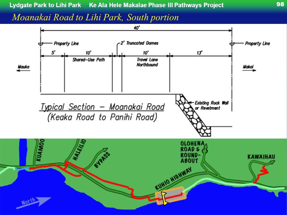 Lydgate Park to Lihi ParkKe Ala Hele Makalae Phase III Pathways Project 98 Moanakai Road to Lihi Park, South portion