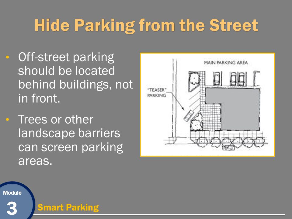 Module 3 Smart Parking Hide Parking from the Street Off-street parking should be located behind buildings, not in front. Trees or other landscape barr