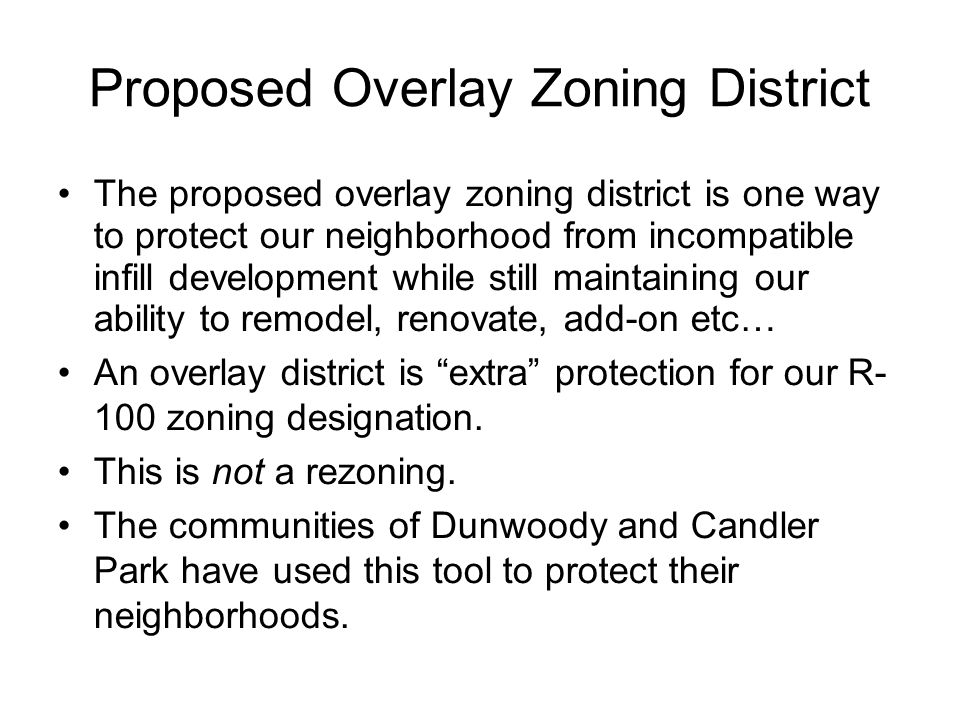 What would overlay zoning do for Leafmore Creek Park Hills.