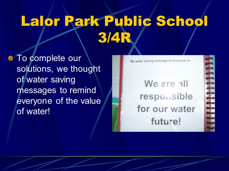 Lalor Park Public School 3/4R Solution 2: Conducting a water use survey at home and designing models of water saving devices.