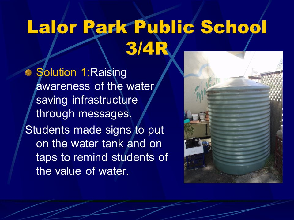 Lalor Park Public School 3/4R Issue 1: Identifying water saving infrastructure in our school.