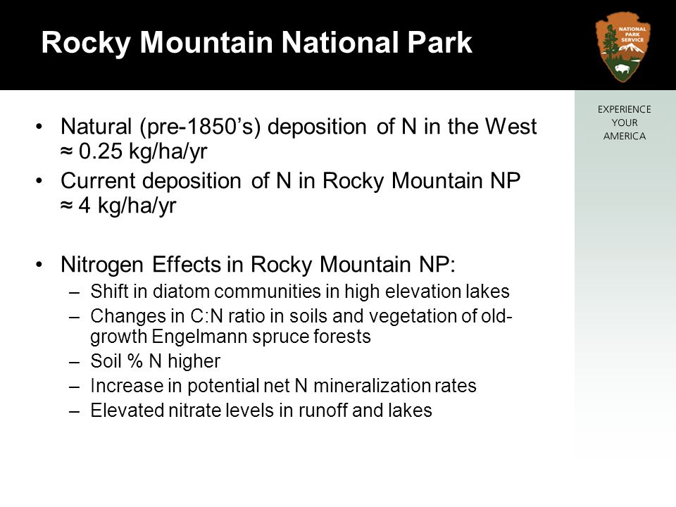Natural (pre-1850s) deposition of N in the West 0.25 kg/ha/yr Current deposition of N in Rocky Mountain NP 4 kg/ha/yr Nitrogen Effects in Rocky Mountain NP: –Shift in diatom communities in high elevation lakes –Changes in C:N ratio in soils and vegetation of old- growth Engelmann spruce forests –Soil % N higher –Increase in potential net N mineralization rates –Elevated nitrate levels in runoff and lakes Rocky Mountain National Park