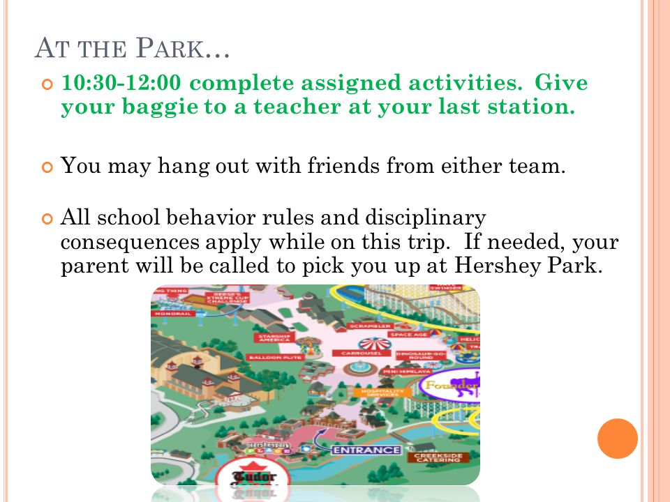 A T THE P ARK … 10:30-12:00 complete assigned activities.