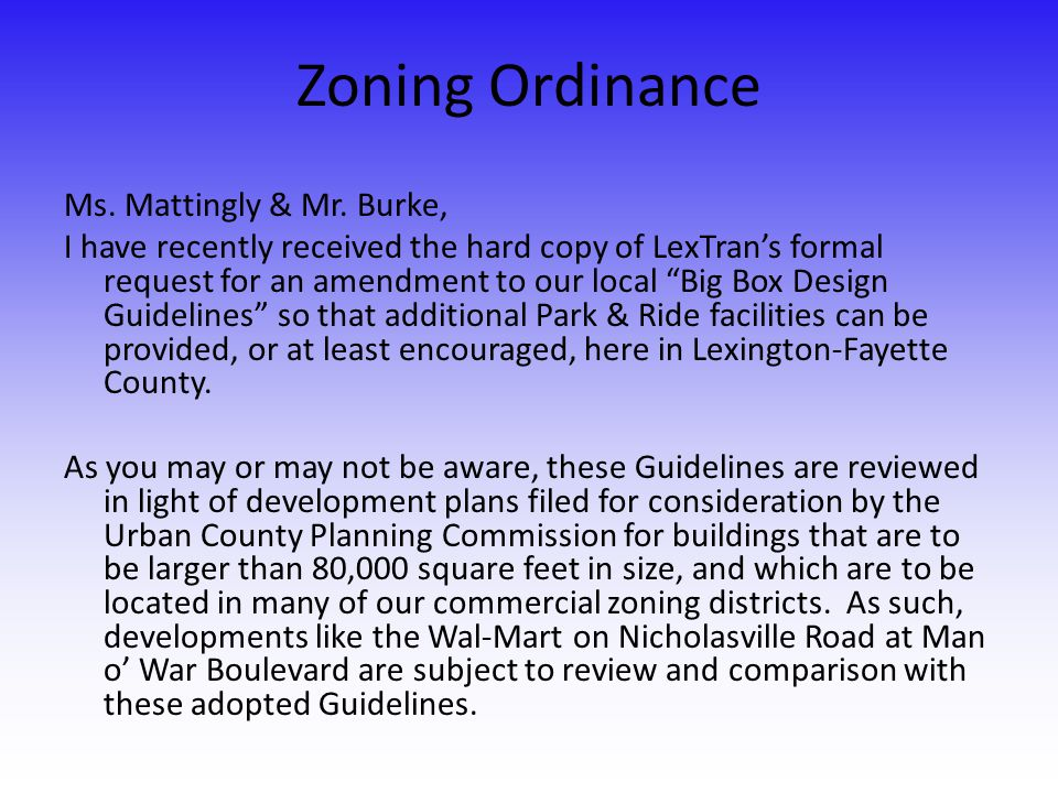 Zoning Ordinance Ms. Mattingly & Mr.