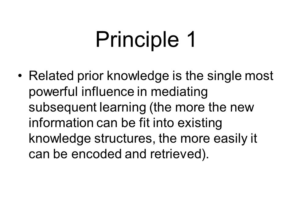 Principle 1 Related prior knowledge is the single most powerful influence in mediating subsequent learning (the more the new information can be fit into existing knowledge structures, the more easily it can be encoded and retrieved).