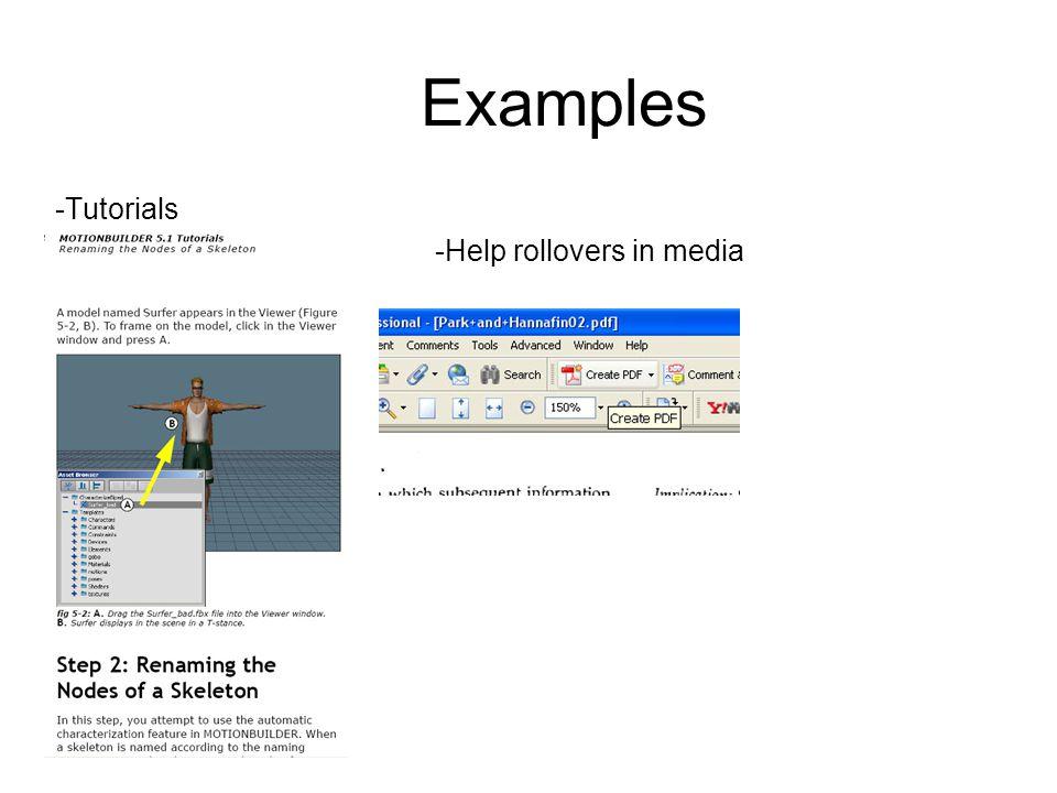 Examples -Tutorials -Help rollovers in media