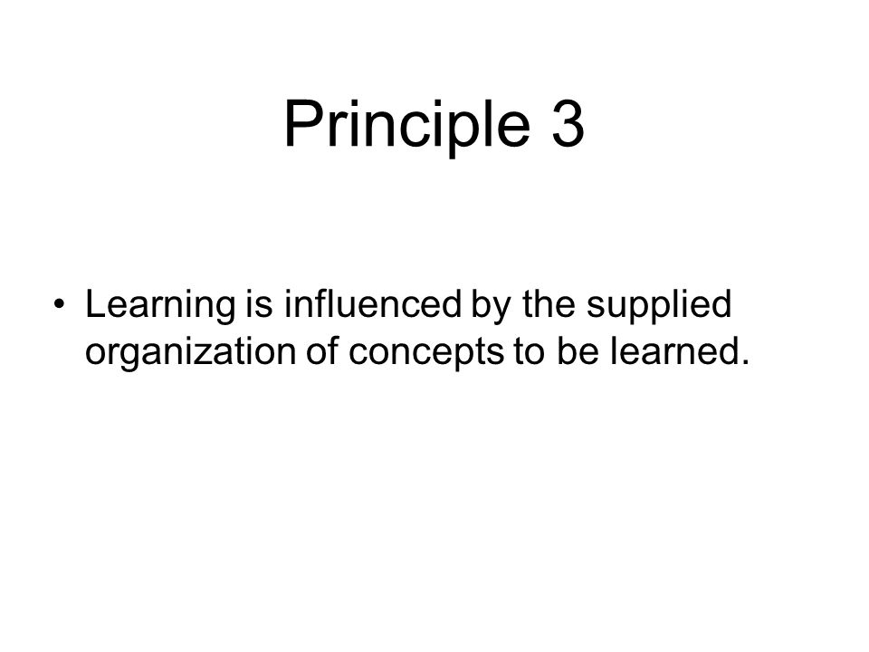 Principle 3 Learning is influenced by the supplied organization of concepts to be learned.