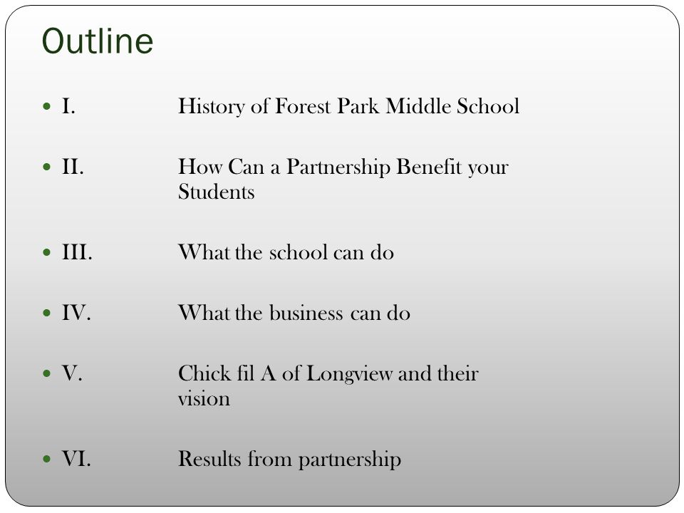 Outline I.History of Forest Park Middle School II.How Can a Partnership Benefit your Students III.What the school can do IV.