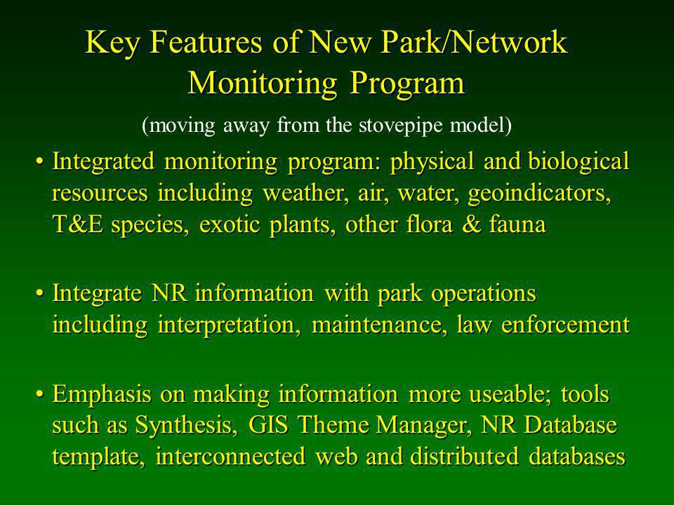 Key Features of New Park/Network Monitoring Program Integrated monitoring program: physical and biological resources including weather, air, water, geoindicators, T&E species, exotic plants, other flora & faunaIntegrated monitoring program: physical and biological resources including weather, air, water, geoindicators, T&E species, exotic plants, other flora & fauna Integrate NR information with park operations including interpretation, maintenance, law enforcementIntegrate NR information with park operations including interpretation, maintenance, law enforcement Emphasis on making information more useable; tools such as Synthesis, GIS Theme Manager, NR Database template, interconnected web and distributed databasesEmphasis on making information more useable; tools such as Synthesis, GIS Theme Manager, NR Database template, interconnected web and distributed databases (moving away from the stovepipe model)