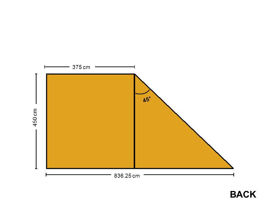 450 cm 375 cm 836.25 cm 45° BACK