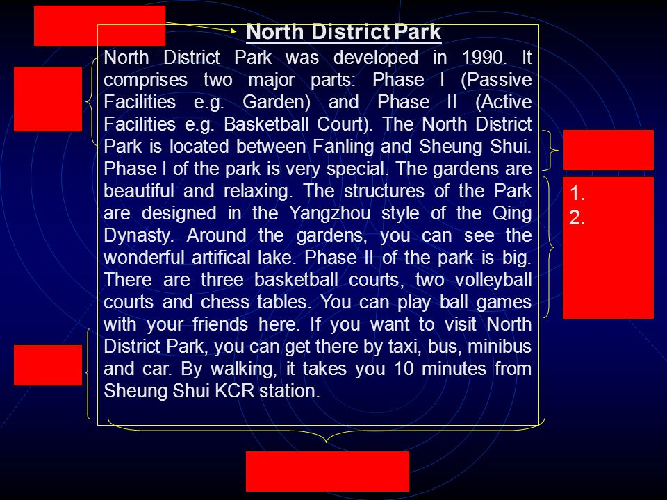1. 2. North District Park North District Park was developed in 1990.