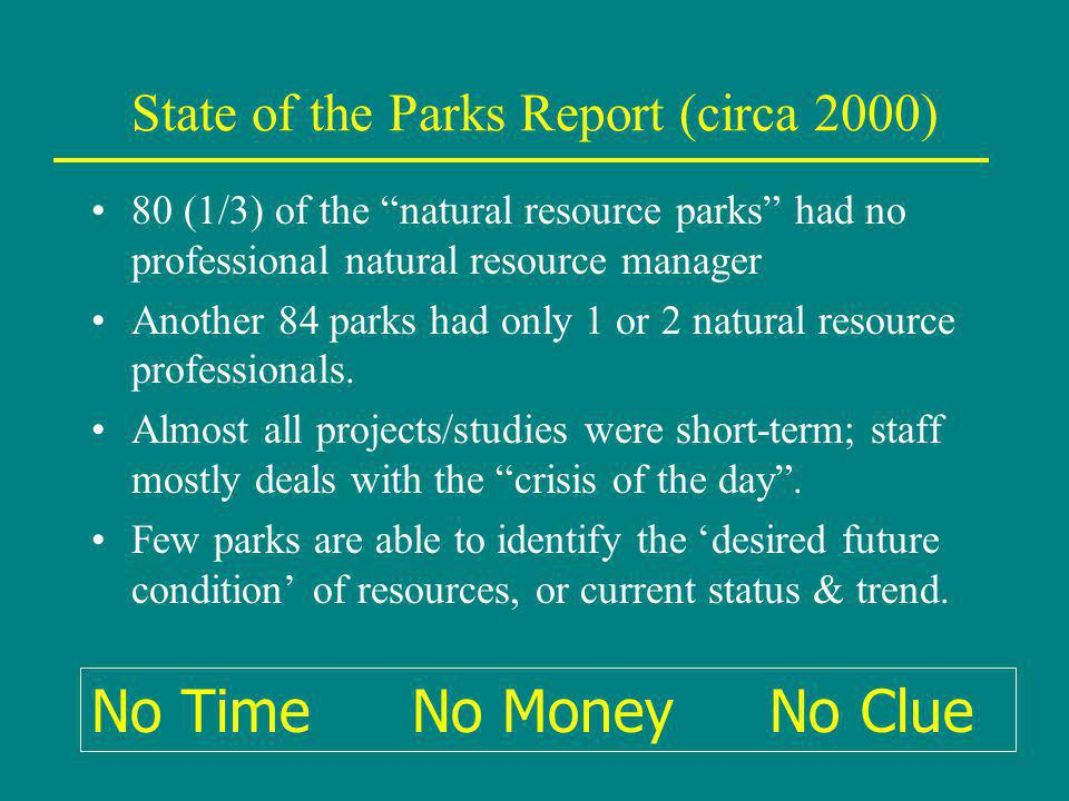 State of the Parks Report (circa 2000) 80 (1/3) of the natural resource parks had no professional natural resource manager Another 84 parks had only 1 or 2 natural resource professionals.