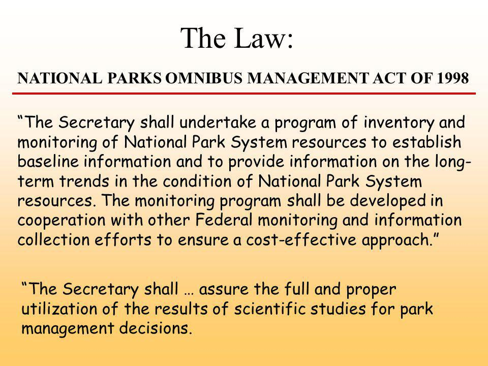 The Secretary shall undertake a program of inventory and monitoring of National Park System resources to establish baseline information and to provide information on the long- term trends in the condition of National Park System resources.