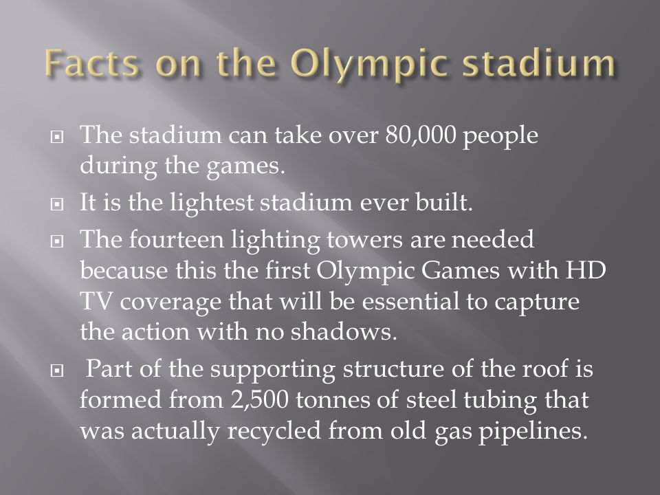 The stadium can take over 80,000 people during the games. It is the lightest stadium ever built. The fourteen lighting towers are needed because this