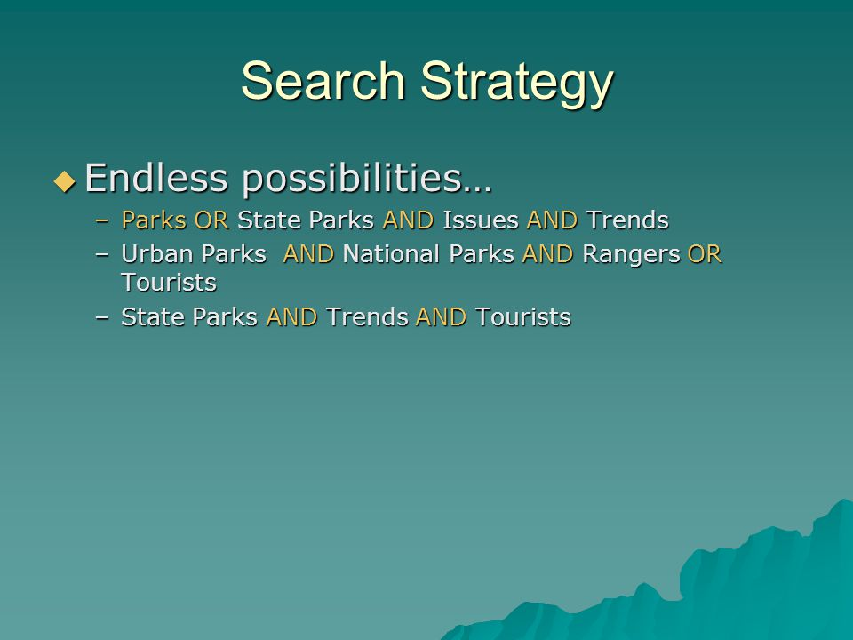 Search Strategy Endless possibilities… Endless possibilities… –Parks OR State Parks AND Issues AND Trends –Urban Parks AND National Parks AND Rangers OR Tourists –State Parks AND Trends AND Tourists