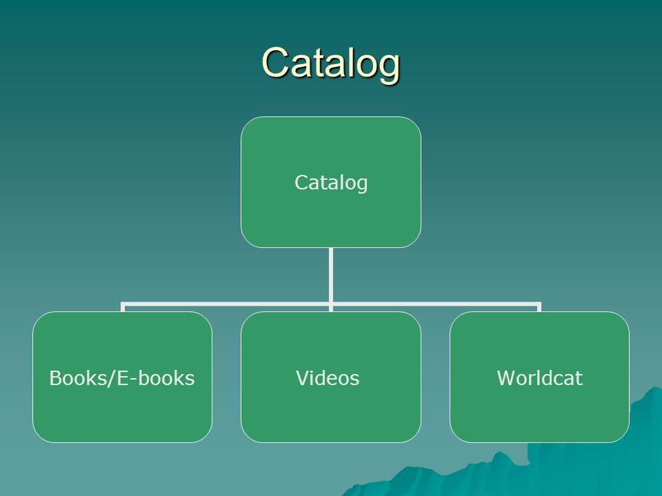 Catalog Catalog Books/E- books VideosWorldcat
