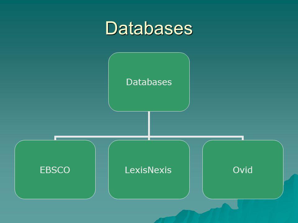 Databases Databases EBSCOLexisNexisOvid