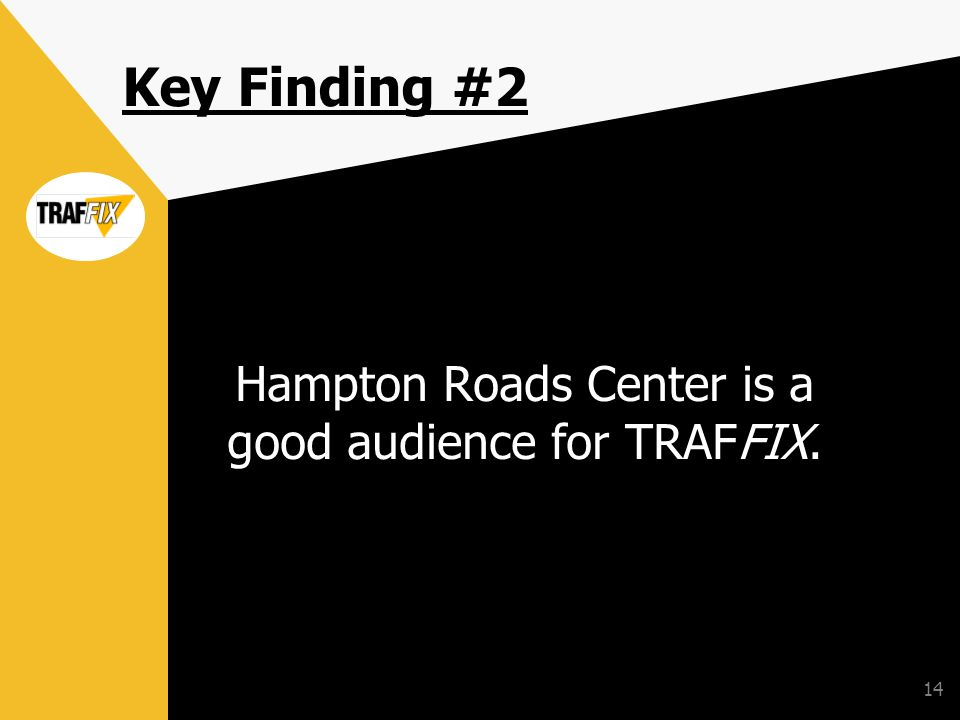 14 Key Finding #2 Hampton Roads Center is a good audience for TRAFFIX.