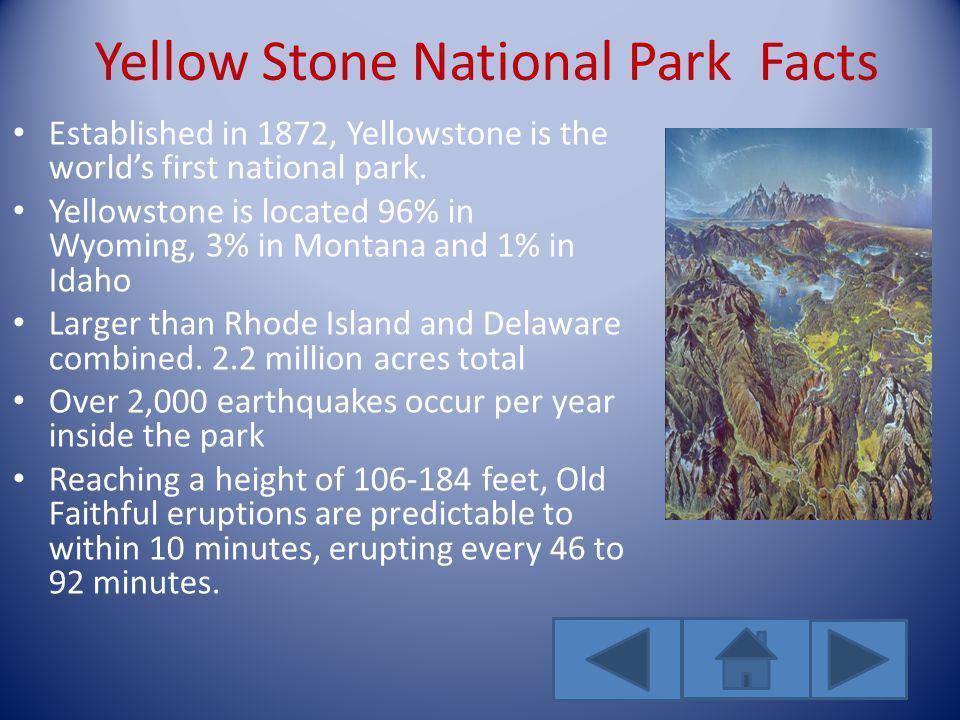 Yellow Stone National Park Facts Established in 1872, Yellowstone is the worlds first national park.