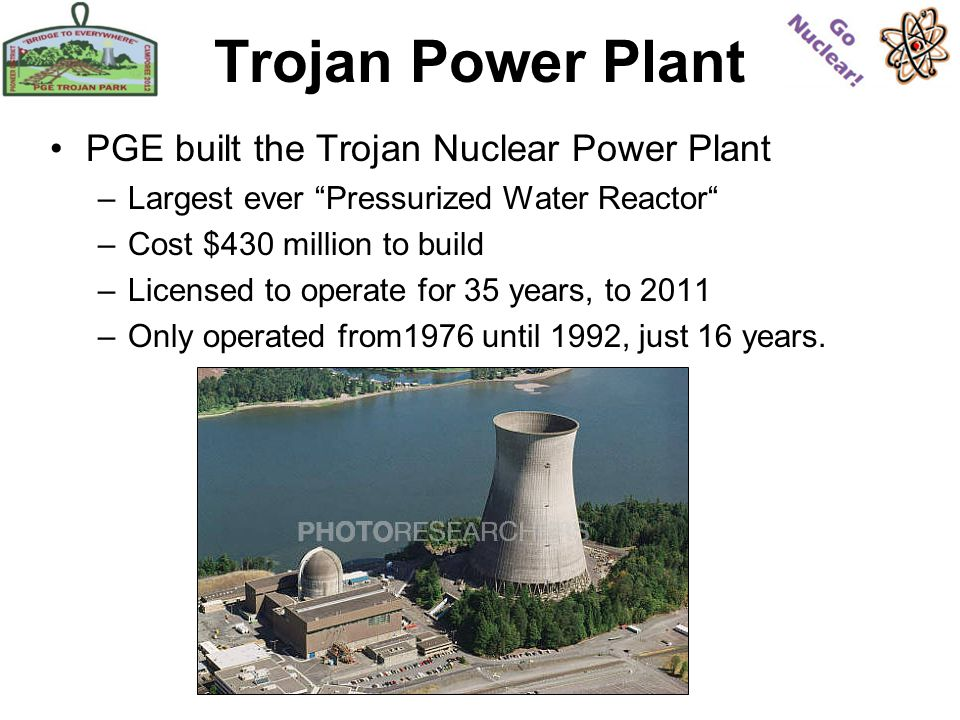 Trojan Power Plant PGE built the Trojan Nuclear Power Plant –Largest ever Pressurized Water Reactor –Cost $430 million to build –Licensed to operate for 35 years, to 2011 –Only operated from1976 until 1992, just 16 years.