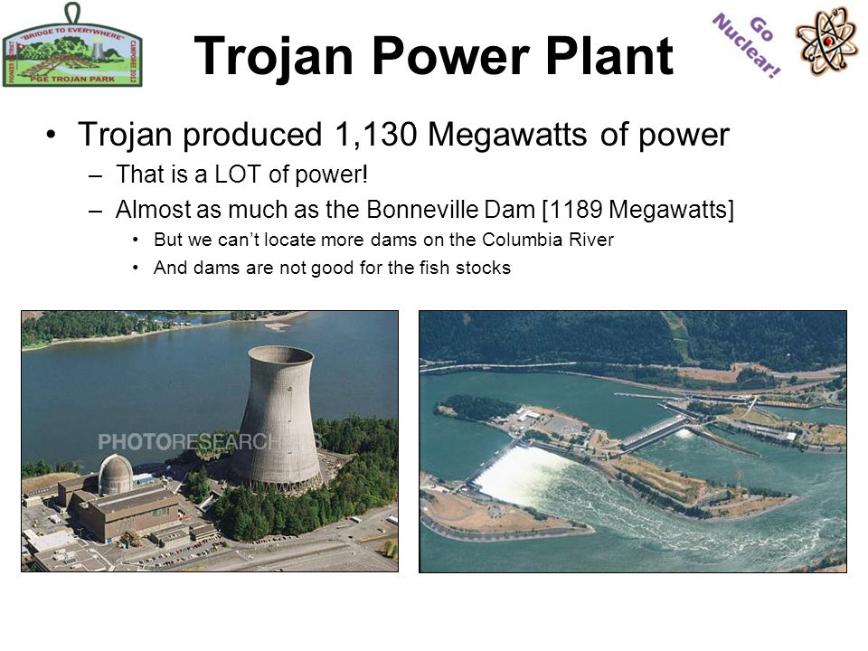 Trojan Power Plant Trojan produced 1,130 Megawatts of power –That is a LOT of power.