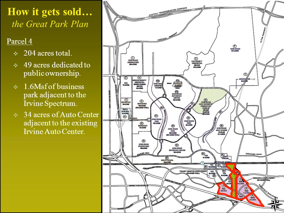 How it gets sold… the Great Park Plan Parcel 4 204 acres total.
