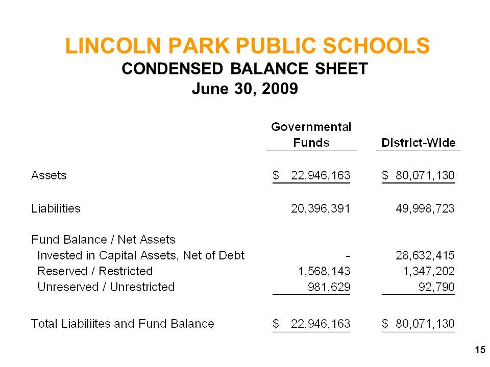 LINCOLN PARK PUBLIC SCHOOLS CONDENSED BALANCE SHEET June 30, 2009
