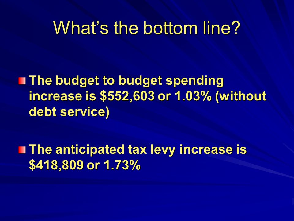Whats the bottom line? The budget to budget spending increase is $552,603 or 1.03% (without debt service) The anticipated tax levy increase is $418,80
