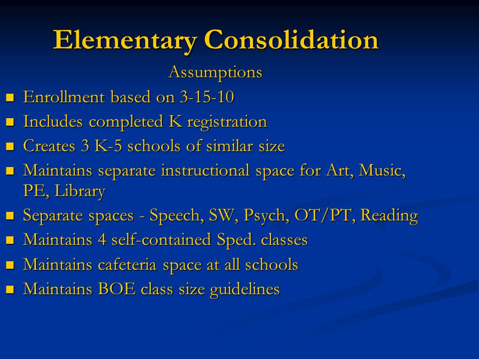 Elementary Consolidation Assumptions Enrollment based on 3-15-10 Enrollment based on 3-15-10 Includes completed K registration Includes completed K re