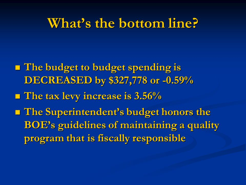 Whats the bottom line? The budget to budget spending is DECREASED by $327,778 or -0.59% The budget to budget spending is DECREASED by $327,778 or -0.5