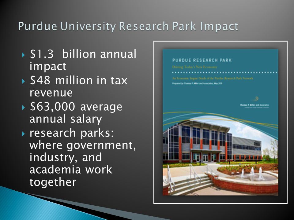 $1.3 billion annual impact $48 million in tax revenue $63,000 average annual salary research parks: where government, industry, and academia work together