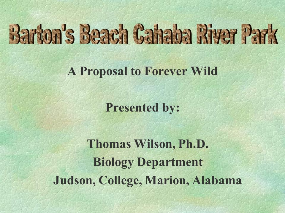 A Proposal to Forever Wild Presented by: Thomas Wilson, Ph.D.