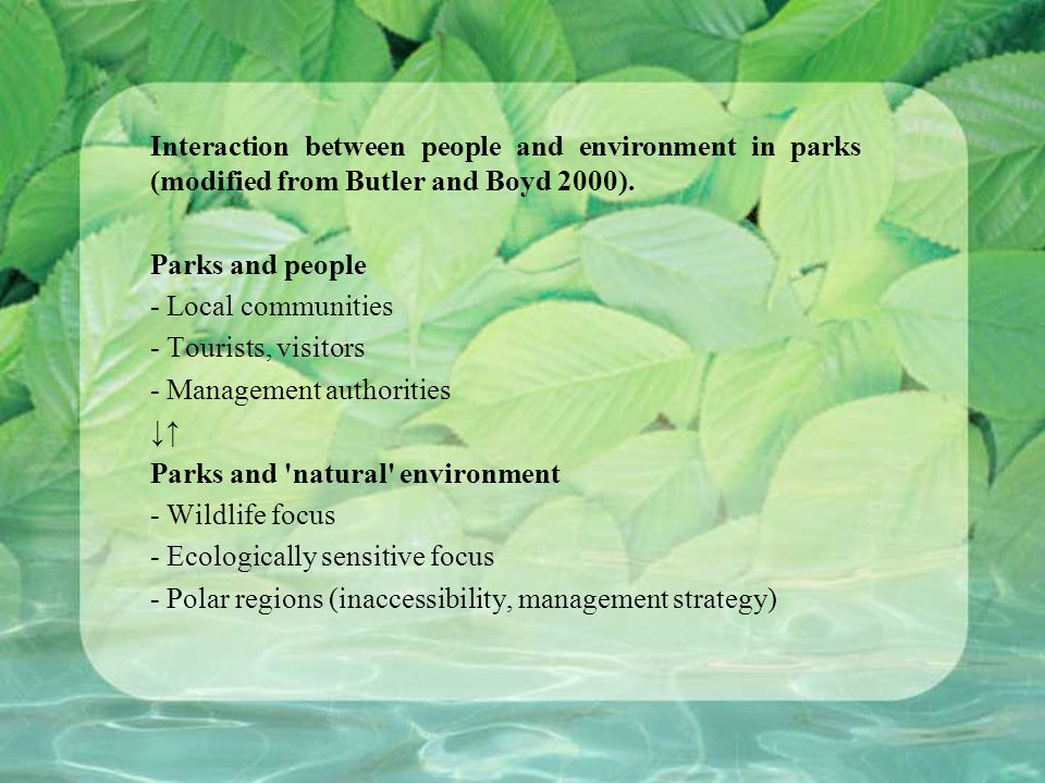 Interaction between people and environment in parks (modified from Butler and Boyd 2000).
