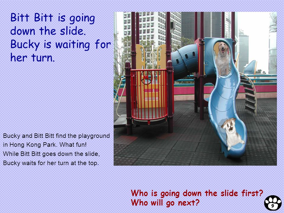 Bucky and Bitt Bitt find the playground in Hong Kong Park. What fun! While Bitt Bitt goes down the slide, Bucky waits for her turn at the top. Who is