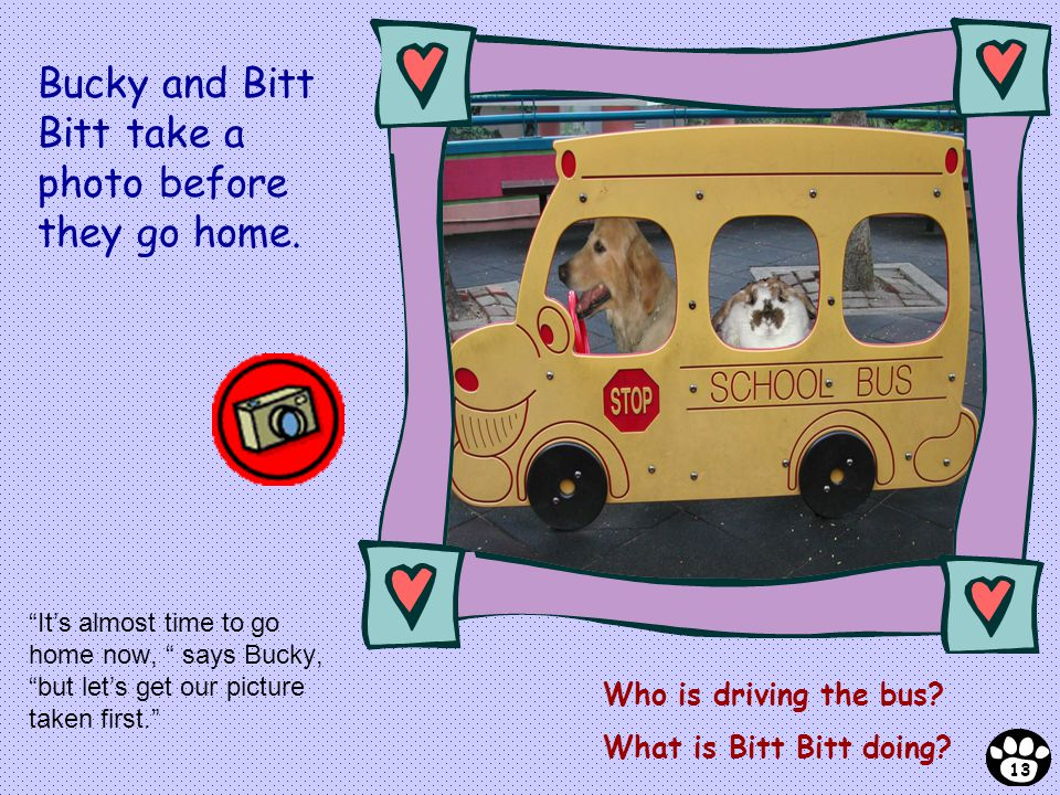 Its almost time to go home now, says Bucky, but lets get our picture taken first. Who is driving the bus? What is Bitt Bitt doing? 13 Bucky and Bitt B