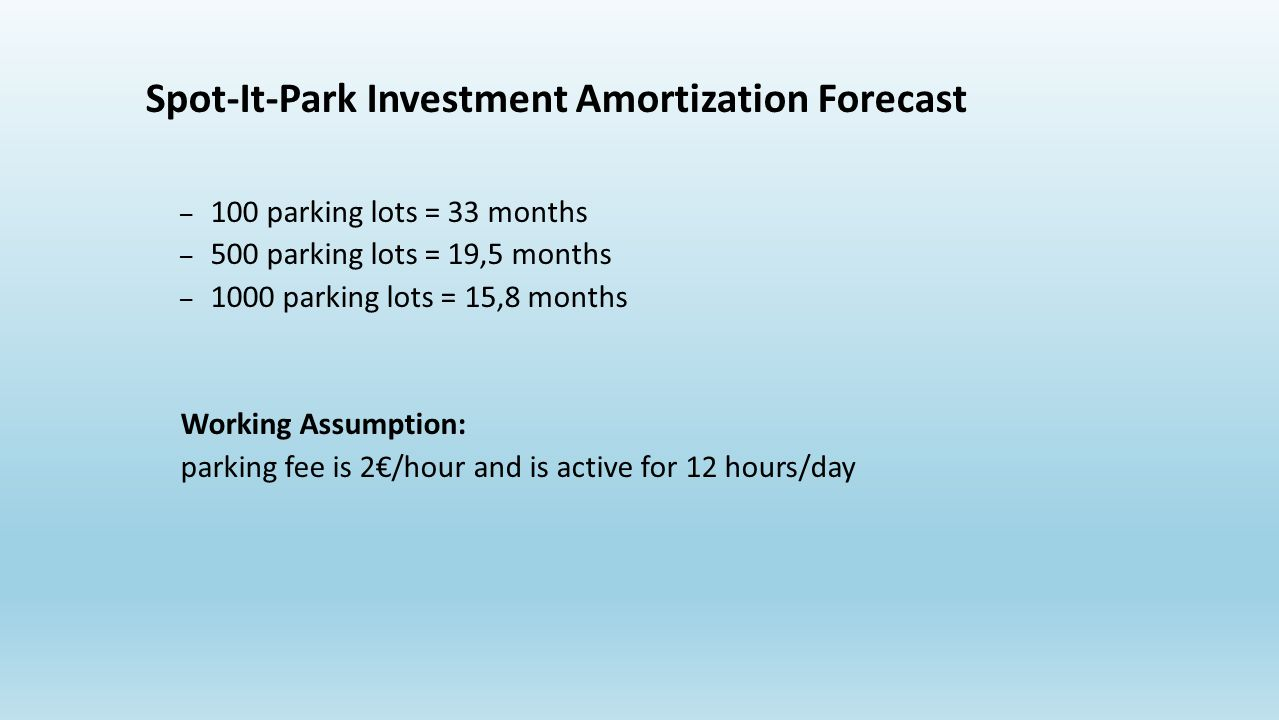 Spot-It-Park Investment Amortization Forecast – 100 parking lots = 33 months – 500 parking lots = 19,5 months – 1000 parking lots = 15,8 months Working Assumption: parking fee is 2/hour and is active for 12 hours/day