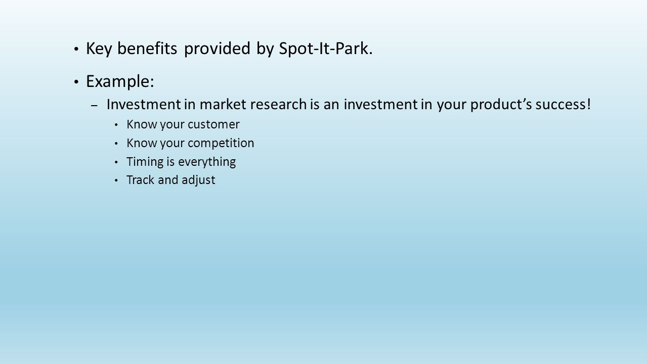 Key benefits provided by Spot-It-Park.