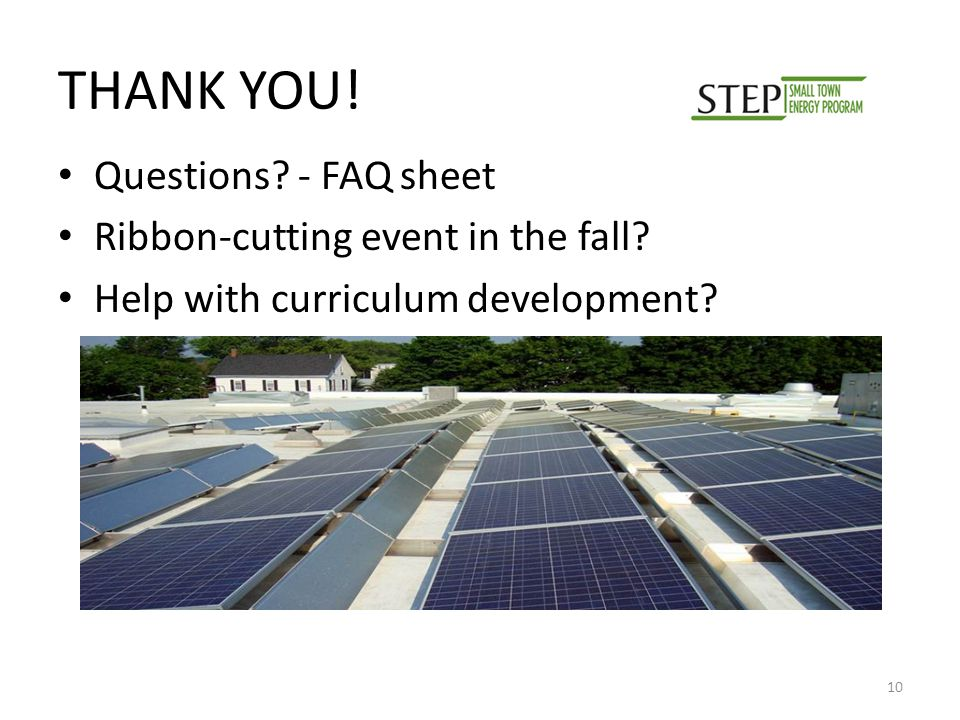 THANK YOU. Questions. - FAQ sheet Ribbon-cutting event in the fall.