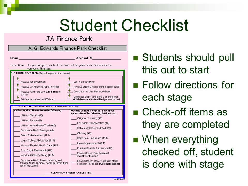 Student Checklist Students should pull this out to start Follow directions for each stage Check-off items as they are completed When everything checked off, student is done with stage