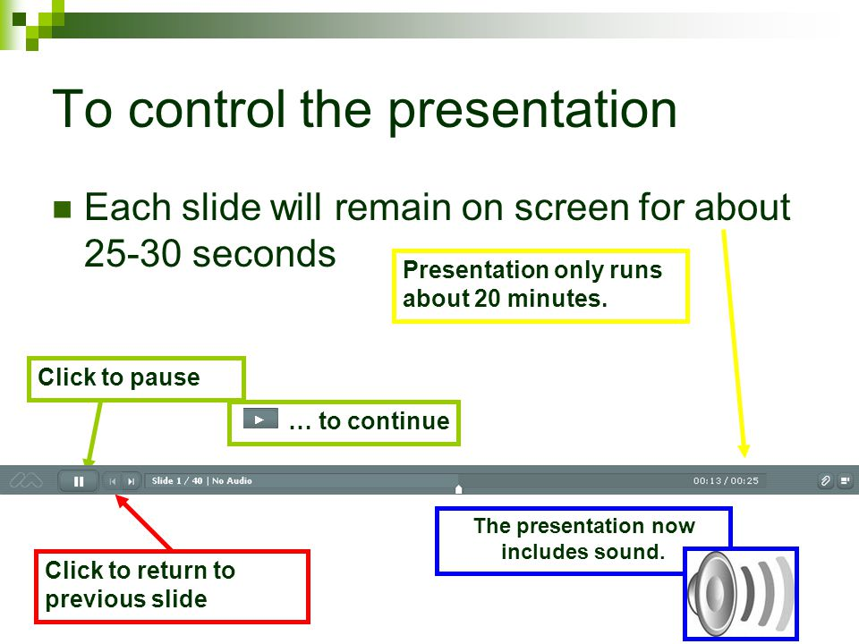 To control the presentation Each slide will remain on screen for about 25-30 seconds Click to pause Click to return to previous slide Presentation only runs about 20 minutes.
