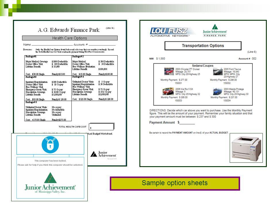 Sample option sheets