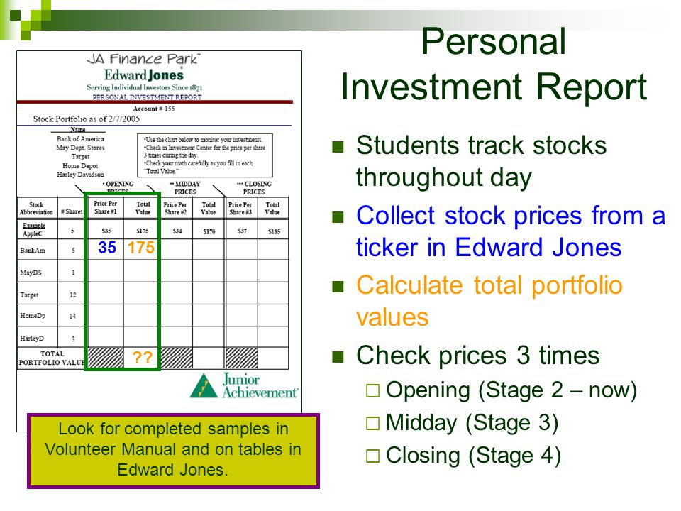 Personal Investment Report Students track stocks throughout day Collect stock prices from a ticker in Edward Jones Calculate total portfolio values Check prices 3 times Opening (Stage 2 – now) Midday (Stage 3) Closing (Stage 4) 35175 .
